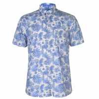 Pierre Cardin Мъжка Риза Къс Ръкав Blue Short Sleeve Shirt Mens White/Blue Trop Мъжки ризи