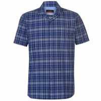 Pierre Cardin Мъжка Риза Къс Ръкав Reverse Check Short Sleeve Shirt Mens Navy/Green/Whte Мъжки ризи