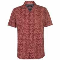 Pierre Cardin Мъжка Риза Къс Ръкав Reverse Geometric Print Short Sleeve Shirt Mens Red Мъжко облекло за едри хора