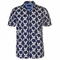 Pierre Cardin Мъжка Риза Къс Ръкав Reverse Geometric Print Short Sleeve Shirt Mens Navy Мъжки ризи