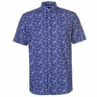 Pierre Cardin Мъжка Риза Къс Ръкав Ditsy Short Sleeve Shirt Mens Navy Мъжко облекло за едри хора