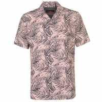 Pierre Cardin Мъжка Риза Къс Ръкав Palm Short Sleeve Shirt Mens Pink/Black Мъжко облекло за едри хора