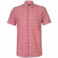 Pierre Cardin Мъжка Риза Къс Ръкав Large Gingham Short Sleeve Shirt Mens Red/White Мъжко облекло за едри хора