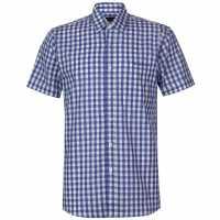 Pierre Cardin Мъжка Риза Къс Ръкав Large Gingham Short Sleeve Shirt Mens Navy/White Мъжко облекло за едри хора