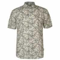 Pierre Cardin Мъжка Риза All Over Print Linen Shirt Mens Olive/White Мъжко облекло за едри хора