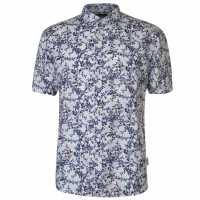 Pierre Cardin Мъжка Риза All Over Print Linen Shirt Mens Navy/Turq/Wht Мъжко облекло за едри хора