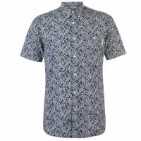 Pierre Cardin Мъжка Риза Short Sleeve Geometric Shirt Mens Navy Paisley Мъжки ризи