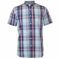 Pierre Cardin Мъжка Риза Short Sleeve Check Button Shirt Mens Sky/Navy/Red Мъжко облекло за едри хора