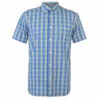Pierre Cardin Мъжка Риза Short Sleeve Check Button Shirt Mens Blue/Grn/Wht Мъжко облекло за едри хора