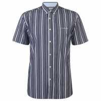 Pierre Cardin Мъжка Риза Къс Ръкав Stripe Short Sleeve Shirt Mens Navy/White Мъжки ризи