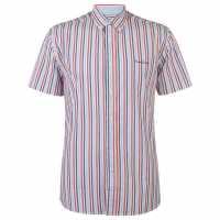 Pierre Cardin Мъжка Риза Къс Ръкав Stripe Short Sleeve Shirt Mens Red/Navy/Sky Мъжки ризи