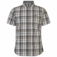 Soulcal Short Sleeve Checkered Shirt Wht/Bown/Grey Мъжки ризи