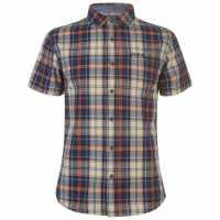 Soulcal Мъжка Риза Къс Ръкав Check Short Sleeve Shirt Mens Nvy/Crm/Orng/Bk Мъжки ризи