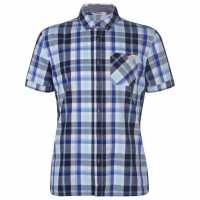 Lee Cooper Карирана Мъжка Риза Short Sleeve Check Shirt Mens Navy/White Мъжки ризи