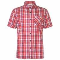 Lee Cooper Карирана Мъжка Риза Short Sleeve Check Shirt Mens Red/Navy/White Мъжки ризи