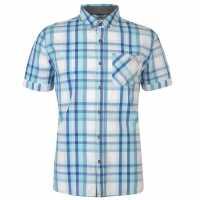 Lee Cooper Карирана Мъжка Риза Short Sleeve Check Shirt Mens Whte/Turq/Blue Мъжки ризи