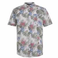 Soulcal Мъжка Риза Short Sleeve Aop Shirt Mens White Floral Мъжко облекло за едри хора