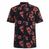 Soulcal Мъжка Риза Short Sleeve Aop Shirt Mens Navy Floral Мъжко облекло за едри хора