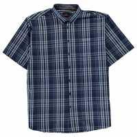 Pierre Cardin Карирана Мъжка Риза Short Sleeve Check Shirt Mens Navy/Sky Мъжки ризи