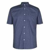 Pierre Cardin Мъжка Риза Geometric Shirt Mens Blue Мъжко облекло за едри хора
