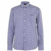 Pierre Cardin Мъжка Риза Дълъг Ръкав Long Sleeve Shirt Mens Navy/Sky Check Мъжко облекло за едри хора