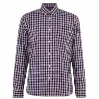 Pierre Cardin Мъжка Риза Дълъг Ръкав Long Sleeve Shirt Mens Navy/Red Chk Мъжки ризи
