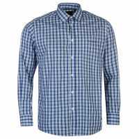 Pierre Cardin Мъжка Риза Дълъг Ръкав Long Sleeve Shirt Mens Blue Check Мъжко облекло за едри хора