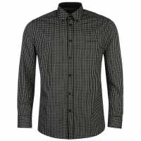 Pierre Cardin Мъжка Риза Дълъг Ръкав Long Sleeve Shirt Mens Black Check Мъжко облекло за едри хора