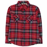 Lee Cooper Риза С Дълъг Ръкав Flannel Long Sleeve Shirt Junior Boys Red/Navy/White Детски ризи