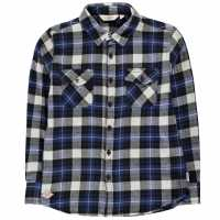 Lee Cooper Риза С Дълъг Ръкав Flannel Long Sleeve Shirt Junior Boys Black/Blue/Wht Детски ризи
