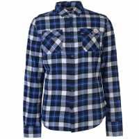 Lee Cooper Мъжка Риза Дълъг Ръкав Flannel Long Sleeve Shirt Mens Black/Blue/Wht Мъжки ризи