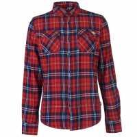Lee Cooper Мъжка Риза Дълъг Ръкав Flannel Long Sleeve Shirt Mens Red/Navy/White Мъжки ризи
