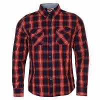 Lee Cooper Карирана Риза Дълъг Ръкав Long Sleeve Check Shirt Mens Red/Navy/Wht Мъжки ризи