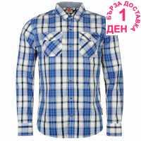 Lee Cooper Карирана Риза Дълъг Ръкав Long Sleeve Check Shirt Mens White/Nav/Coblt Мъжко облекло за едри хора