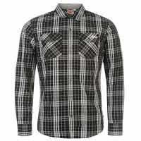 Lee Cooper Карирана Риза Дълъг Ръкав Long Sleeve Check Shirt Mens Black/White Мъжки ризи