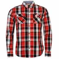 Lee Cooper Карирана Риза Дълъг Ръкав Long Sleeve Check Shirt Mens Red/Black/White Мъжки ризи