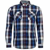 Lee Cooper Карирана Риза Дълъг Ръкав Long Sleeve Check Shirt Mens Red/Blu/Nvy/Wht Мъжки ризи
