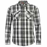 Lee Cooper Карирана Риза Дълъг Ръкав Long Sleeve Check Shirt Mens Grey/Blk/White Мъжки ризи