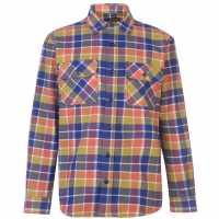 Мъжка Риза Dunlop Brawny Workwear Shirt Mens Navy/Turquoise Мъжко облекло за едри хора