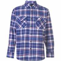 Dunlop Мъжка Риза Brawny Shirt Mens Navy/White Мъжки ризи