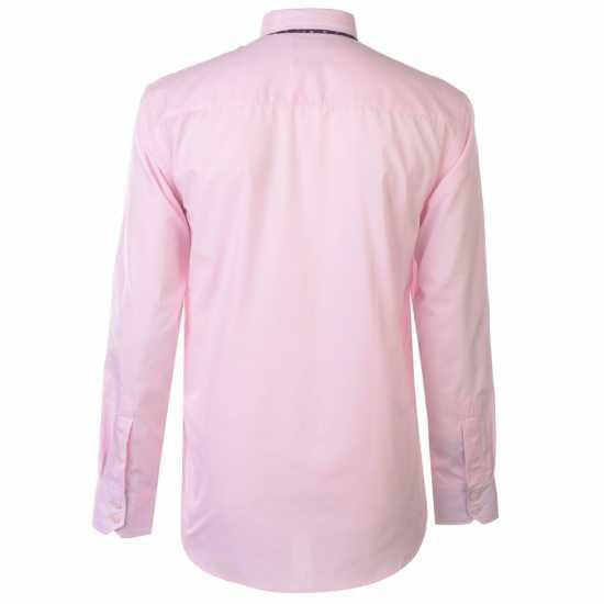 Pierre Cardin Риза С Дълъг Ръкав Long Sleeve Shirt Tie Set Mens Pink/Navy Plain Мъжки ризи
