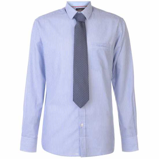 Pierre Cardin Риза С Дълъг Ръкав Long Sleeve Shirt Tie Set Mens Blue/Wht Stripe Мъжки ризи