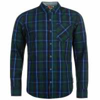 Lee Cooper Карирана Мъжка Риза Long Sleeve Fashion Check Shirt Mens Navy/Green/Blue Мъжки ризи