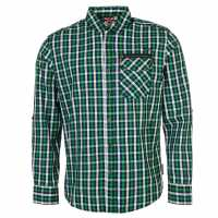 Lee Cooper Мъжка Риза Long Sleeve Fashion Shirt Mens Green/Navy/Whte Мъжки ризи