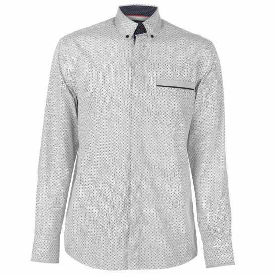Pierre Cardin Мъжка Риза Long Sleeve Printed Shirt Mens White AOP Мъжки ризи