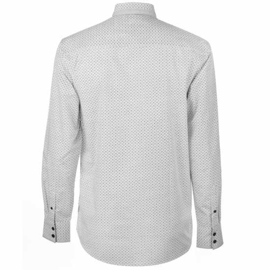 Pierre Cardin Мъжка Риза Long Sleeve Printed Shirt Mens White AOP Мъжки ризи
