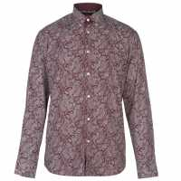 Pierre Cardin Мъжка Риза Long Sleeve Printed Shirt Mens Burg/Wht AOP Мъжки ризи