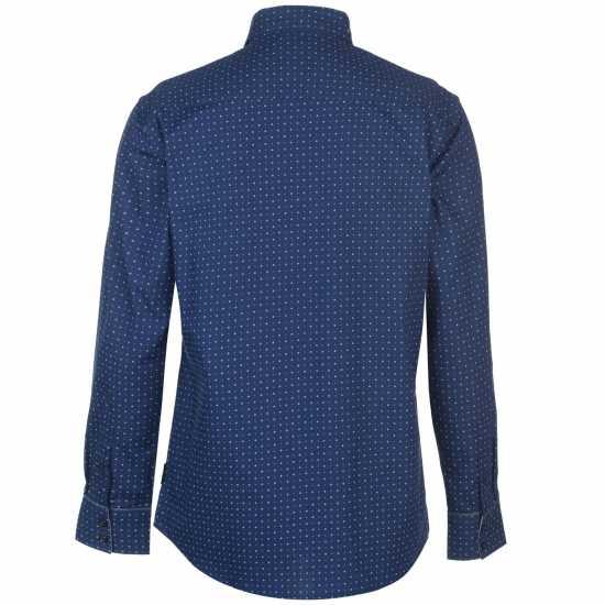 Pierre Cardin Мъжка Риза Long Sleeve Printed Shirt Mens Blue AOP Мъжки ризи