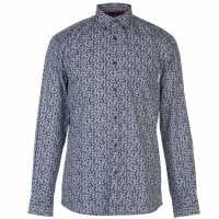 Pierre Cardin Мъжка Риза Long Sleeve Printed Shirt Mens Navy/Wht AOP Мъжки ризи