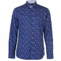 Pierre Cardin Мъжка Риза Long Sleeve Printed Shirt Mens Navy/Wht Floral Мъжки ризи